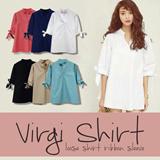 Premium Quality Virgi Shirt_Loose Shirt Ribbon Sleeve_6colors_Fit Size S-L besar_100% Cotton_Local Brand_Trend Fashion_Blouse Wanita / kemeja wanita / Pakaian Wanita