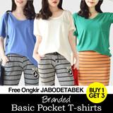 [Buy1Get3pcs] basic women pocket tees-everyday comfort / Premium quality / free ongkir jabodeatbek / Basic Tshirt Basic Tee