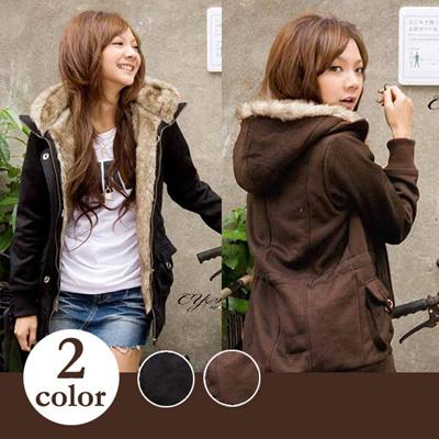 今季大人気のファー付フードジャケット / アウター  コート 2色 5サイズの画像