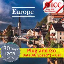 ◆ ICC◆【Europe Sim Card · 15/30 Days】3GB/9GB❤5GB/2GB(4GLTE*) + Call/SMS ❤Can call SG(Plan-C)