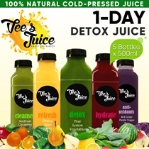 [Vees] Cold-Pressed Juice! 1 DAY Juice Detox Program (5x 500ml) FRESHLY Prepared Plus FREE DELIVERY!