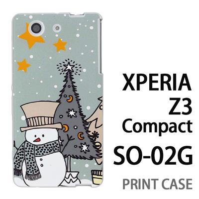 XPERIA Z3 Compact SO-02G 用『1207 雪だるまとツリー 水』特殊印刷ケース【 xperia z3 compact so-02g so02g SO02G xperiaz3 エクスペリア エクスペリアz3 コンパクト docomo ケース プリント カバー スマホケース スマホカバー】の画像