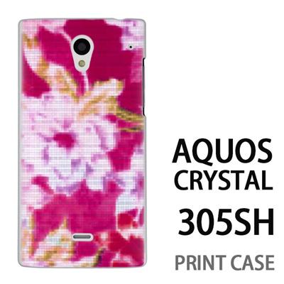 AQUOS CRYSTAL 305SH 用『No3 モザイクフラワー ピンク』特殊印刷ケース【 aquos crystal 305sh アクオス クリスタル アクオスクリスタル softbank ケース プリント カバー スマホケース スマホカバー 】の画像