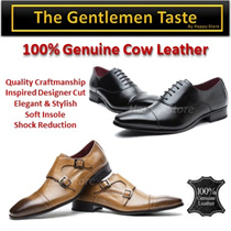 100% Genuine Cow Leather Men Shoes/ shock Absorbent Insole// Cap Toe Debry/Monk Strap/Designer style