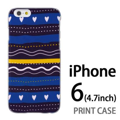 iPhone6 (4.7インチ) 用『1220 ハートストライプ 水』特殊印刷ケース【 iphone6 iphone アイフォン アイフォン6 au docomo softbank Apple ケース プリント カバー スマホケース スマホカバー 】の画像