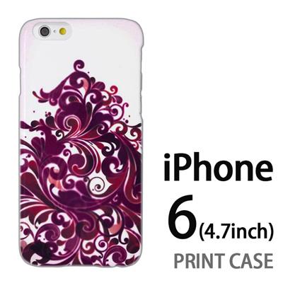 iPhone6 (4.7インチ) 用『1219 海草ツリー 赤紫』特殊印刷ケース【 iphone6 iphone アイフォン アイフォン6 au docomo softbank Apple ケース プリント カバー スマホケース スマホカバー 】の画像