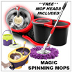 ★SPIN MOPS ★360 MAGIC DUAL SPIN MOP  ★STAINLESS STEEL BASKET ★2 IN 1 ★Automatic Spin Dry Mop ★