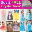 New 9 Nov! Buy 2 Free Crystal Tiara! Party Princess Costume Dresses!  Baby Toddler Girl Party Dress / Wedding Birthday / Kid Children!