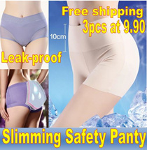 3pcs at $9.90 Free shipping!Sliming seamless safety panty/Ladys Body sculpting safety panties/Tummy control underwear/Menstruation Leak-Proof Panties/lifting lady panty/seamless panties/bra