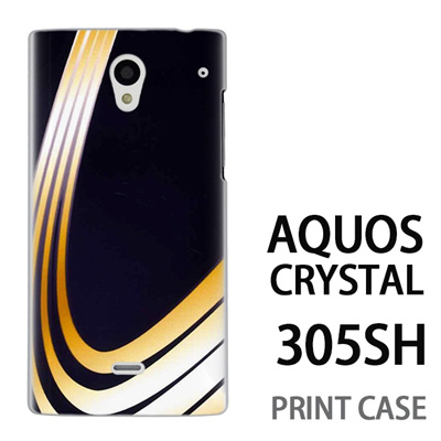 AQUOS CRYSTAL 305SH 用『No3 黄色曲線4本』特殊印刷ケース【 aquos crystal 305sh アクオス クリスタル アクオスクリスタル softbank ケース プリント カバー スマホケース スマホカバー 】の画像