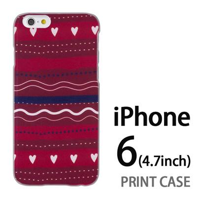 iPhone6 (4.7インチ) 用『1220 ハートストライプ 赤』特殊印刷ケース【 iphone6 iphone アイフォン アイフォン6 au docomo softbank Apple ケース プリント カバー スマホケース スマホカバー 】の画像