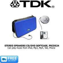 TDK - PORTABLE AMPLIFIED STEREO SPEAKERS AND CD/DVD SOFTCASE PSCDS24 - CAN CONNECT WITH iPOD MP3 MP4 TABS PHONES -