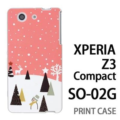XPERIA Z3 Compact SO-02G 用『1210 雪景色 ピンク』特殊印刷ケース【 xperia z3 compact so-02g so02g SO02G xperiaz3 エクスペリア エクスペリアz3 コンパクト docomo ケース プリント カバー スマホケース スマホカバー】の画像