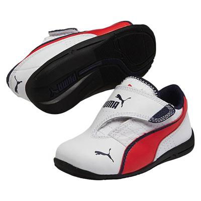 プーマ (PUMA) キッズ ドリフトキャット 6 AC(ホワイト×ハイリスクレッド×ピーコート) 305174-04 [分類:キッズ・子供靴 スニーカー]の画像