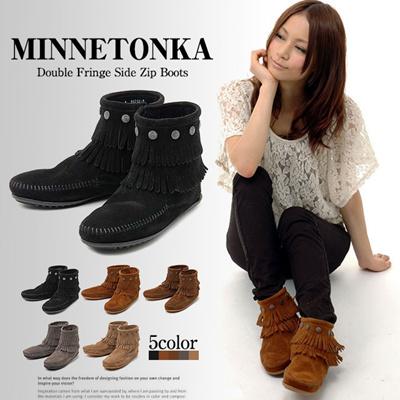 ミネトンカ Minnetonka ミネトンカ ブーツ ダブルフリンジ サイドジップ Minnetonka レディース フリンジブーツ 通販の画像