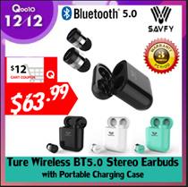 SAVFY® True Mini Wireless Bluetooth 5.0 Sport Earbuds Handsfree Earphone with Portable Charging Case