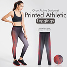Branded Gray Active Sunburst Printed Athletic Leggings /  Super Comfortable Material / Size XS-L / Active wear Yoga Leggings / Yoga pants Baju olahraga Celana olahraga