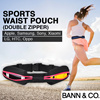Sports Waist Pouch (Double Zipper) - Jogging/Running/Cycling/Gym Waist Pouch for iPhone/Samsung/LG/HTC/Sony/Xiaomi Mobile Phone