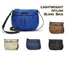 MG Lightweight Nylon Pleated Sling / Cross Body Bag [5 Color Options : Black Navy Blue Cobalt Blue Beige Brown]