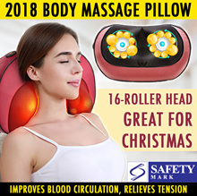 NEW 16-Roller TCM Massager Neck Pillow/ Improve Blood Circulation N Self Healing CHRISTMAS GIFT IDEA