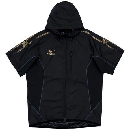 【クリックで詳細表示】ミズノ(MIZUNO) ウィンドブレーカー半袖Tシャツ A60WS30290 ブラック×チャコール 【メンズトレーニングウェア パーカー ジャージ ランニング】