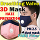 Breathing Valve 3D Mask / Anti-Haze Masks / Anti-dust Masks / PM2.5 / Adult Youths & Children kids / Reusable washable Mask / Prevent Haze / carbon filter