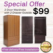 New Arrival 2door Wardrobe with 2 drawer outside. 2 options colour to choose ( Dark Walnut or Cherry) Free delivery and Installation. LCF Furniture/Bed/Storage/Chair