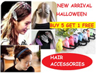 Fr $0.80 to $1.80 Halloween Children day gift children Woman fashionable RIBBON hair ties Baby Girl Toddler Kids Korea Hair Accessories Clip Headband Ponytail Rubber band clip Fringe Magic Velcro