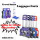 【Travel Smart Luggage Carts/Trolley】【Options for 50kg or 80kg loading Capacity】Push Pull cart★Space saving★Foldable★Portable