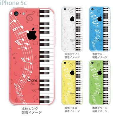 【iPhone5cケース】【iPhone5cカバー】【iPhone 5c ケース】【スマホケース】【クリアケース】【クリア】【イラスト】【ミュージック】【ピアノと音符】 08-ip5c-ca0048cの画像