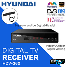 ★NEW★ SINGAPORE HDV-360 DVB-T2 DIGITAL TUNER/ DIGITAL TV CONVERSION/ APPROVED BY IMDA