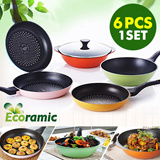 [SUPER TIME SALE]Pro Diamond Ecoramic Frypan 5pcs + 1pcs glass lid 1SET★ / Colorful 6pcs in 1 set / DIAMOND Diecasting /FRYPAN /household / KITCHEN WARE/ Christmas Gift / KANO