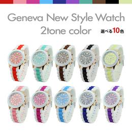 【送料無料】 腕時計 レディース シリコンウォッチ 【新作】Geneva New Style Watch 大好評!! かわいい カラフル ファッション メンズ ウォッチ バイカラー #F1537# 【