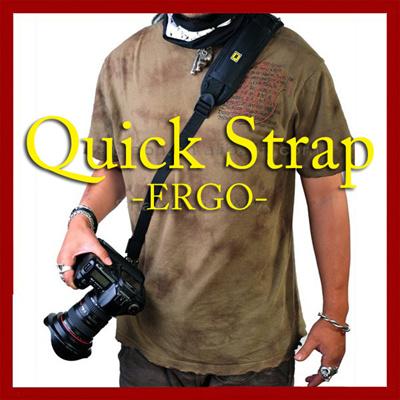 ★【送料無料】売れてます!デジタル一眼レフにお薦め プロ仕様 一眼カメラ用 スライドクイックストラップ Quick strap ERGO ショルダー 斜めがけ 滑り止め付き 軽くてクッションが付きで疲労感を最小化 この機動性はクセになるの画像