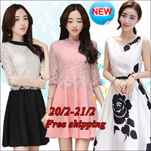 【21/2】Korean dress/Long sleeve Sleeveless Short sleeve dresses/Occupation/Casual/chiffon/lace/suit