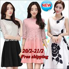 【20/2】Korean dress/Long sleeve Sleeveless Short sleeve dresses/Occupation/Casual/chiffon/lace/suit