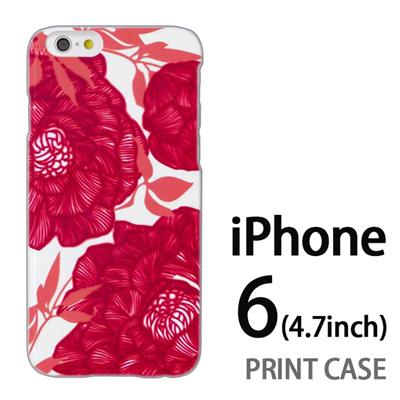 iPhone6 (4.7インチ) 用『1221 花アート 赤』特殊印刷ケース【 iphone6 iphone アイフォン アイフォン6 au docomo softbank Apple ケース プリント カバー スマホケース スマホカバー 】の画像