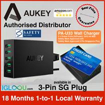 ★SG Exclusive Distributor★[PA-U33] AUKEY 50W 5-Ports Desktop Wall Charger SG 3-Pin Plug