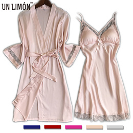 UNLIMON Womens Nighties Silk Nightgown Ladies Pjs Lace Girls Robes Night Dress For Women Satin Lace