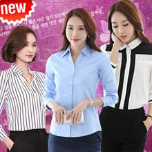 2016New Plus Fashion OL  Workers  / Chiffon/cotton/ good quality Long Sleeve Shirt/ Short sleeve/Warm base coat