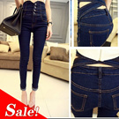 XM22 Korean version of a - breasted women pencil pants / trousers / high waisted jeans / explicit thin foot trousers / Jeans
