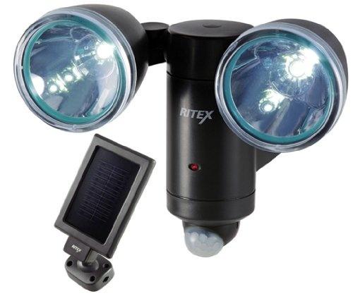 【クリックで詳細表示】ムサシ RITEX ソーラー式センサーライト(LED1W×2灯) 「防雨型」 S-20L