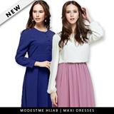 [SG SELLER] New Flare Chiffon Maxi Jubah Dresses Muslim Ladies Long Fashion Maxi Dress Muslimah