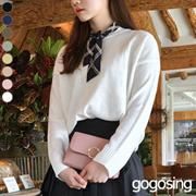 【GOGOSING】善良なニットラウンドネック★レディースニット レディーストップス クルーネックニット シンプル ゆったり 韓国ファッション p000cavt
