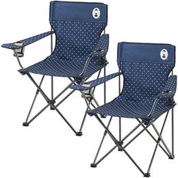 コールマン リゾートチェア (ネイビードット) 2000026736 + リゾートチェア (ネイビードット) 計2脚セット! 【キャンプ アウトドア おしゃれ 椅子 運動会】
