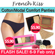 [FRENCH KISS] NEW ARRIVAL! High Quality Cotton/Modal Comfort Panties/Bikini/Tanga/Hi-Cut! 1 set with 2pcs or 5pcs/ S-XL size! Store Pickup only at Suntec City Mall or Anchor Point