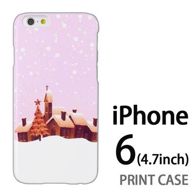 iPhone6 (4.7インチ) 用『1222 雪降る町 ピンク』特殊印刷ケース【 iphone6 iphone アイフォン アイフォン6 au docomo softbank Apple ケース プリント カバー スマホケース スマホカバー 】の画像
