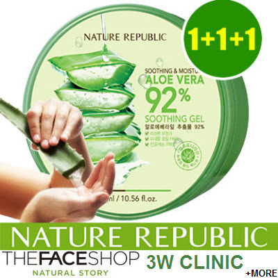 Bundle of 3? Aloe Vera /Snail Soothing Gel Nature Republic / 3W Clinic / TheFaceShop / The Face Shop Deals for only S$39 instead of S$0