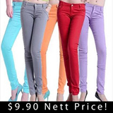 * Buy 3 Free Shipping * $9.9 Nett Price! Candy Colorful Skinny Short Pants long Pants Skirt 7 Style 24 Colors
