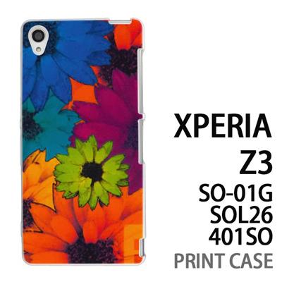 XPERIA Z3 SO-01G SOL26 401SO 用『No1 F フラワー』特殊印刷ケース【 xperia z3 so01g so-01g SO01G sol26 401so docomo au softbank エクスペリア エクスペリアz3 ケース プリント カバー スマホケース スマホカバー】の画像
